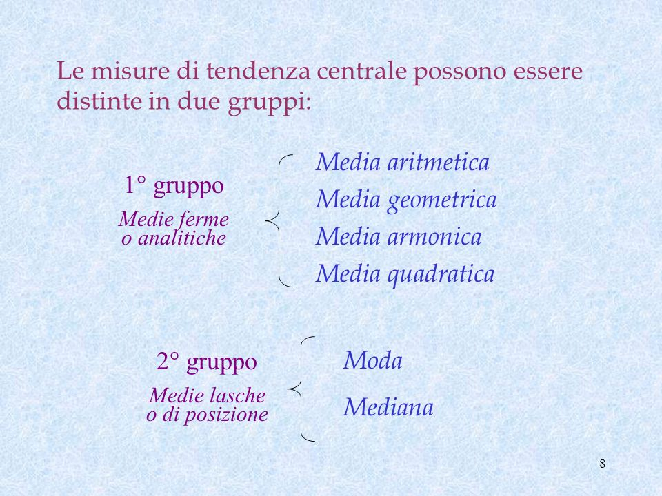7 Le misure che permettono di valutare sinteticamente tali caratteristiche sono: Misure di tendenza centrale: MEDIE Misure di tendenza centrale: MEDIE