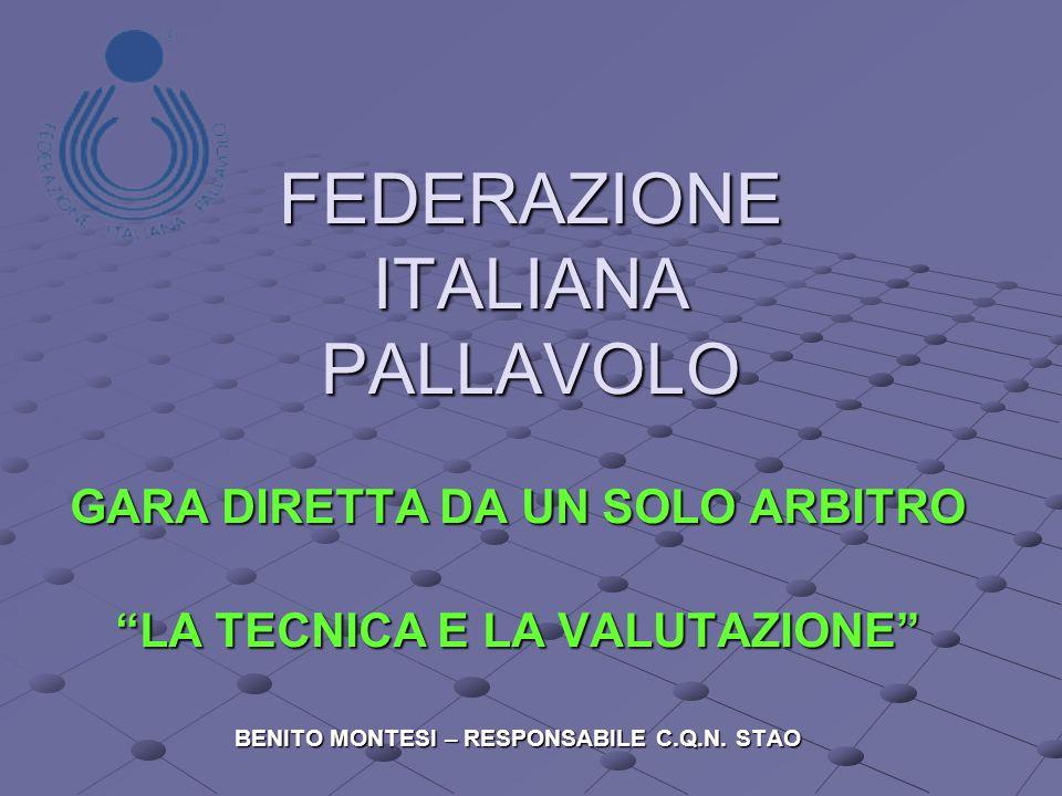 FEDERAZIONE ITALIANA PALLAVOLO GARA DIRETTA DA UN SOLO ARBITRO LA TECNICA E LA VALUTAZIONE BENITO MONTESI – RESPONSABILE C.Q.N.