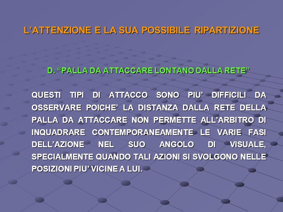 LATTENZIONE E LA SUA POSSIBILE RIPARTIZIONE C. PALLA DA ATTACCARE VICINO ALLA RETE QUESTO TIPO DI ATTACCO CON PALLA ALTA NELLE POSIZIONI 2 - 3 - 4 VIC