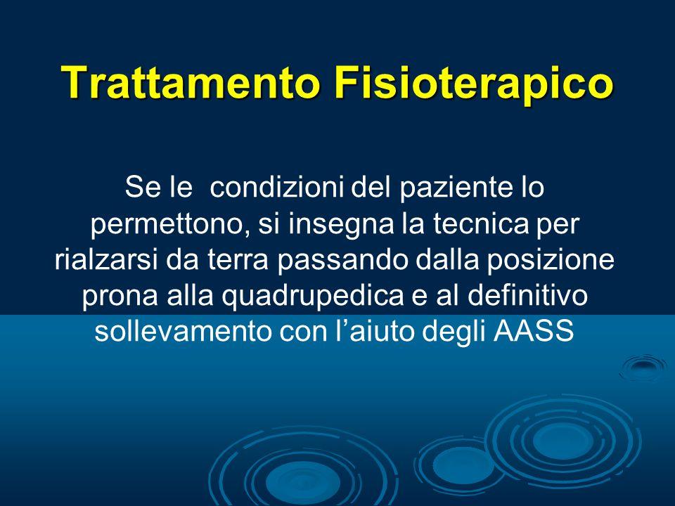 Trattamento Fisioterapico Se le condizioni del paziente lo permettono, si insegna la tecnica per rialzarsi da terra passando dalla posizione prona all