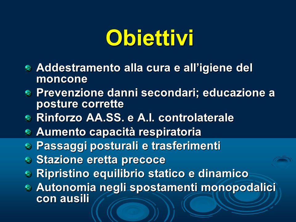 Obiettivi Addestramento alla cura e alligiene del moncone Prevenzione danni secondari; educazione a posture corrette Rinforzo AA.SS. e A.I. controlate