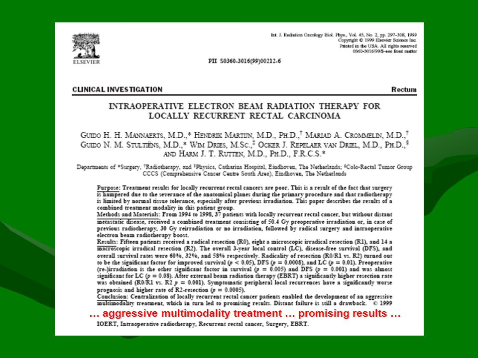 … importance of microscopic complete resection in a multimodality approach with IORT for Survival and LC…