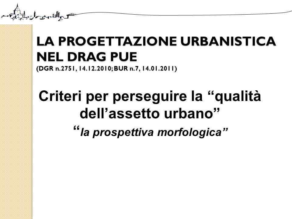 LA PROGETTAZIONE URBANISTICA NEL DRAG PUE (DGR n.2751, 14.12.2010; BUR n.7, 14.01.2011) Criteri per perseguire la qualità dellassetto urbano la prospe