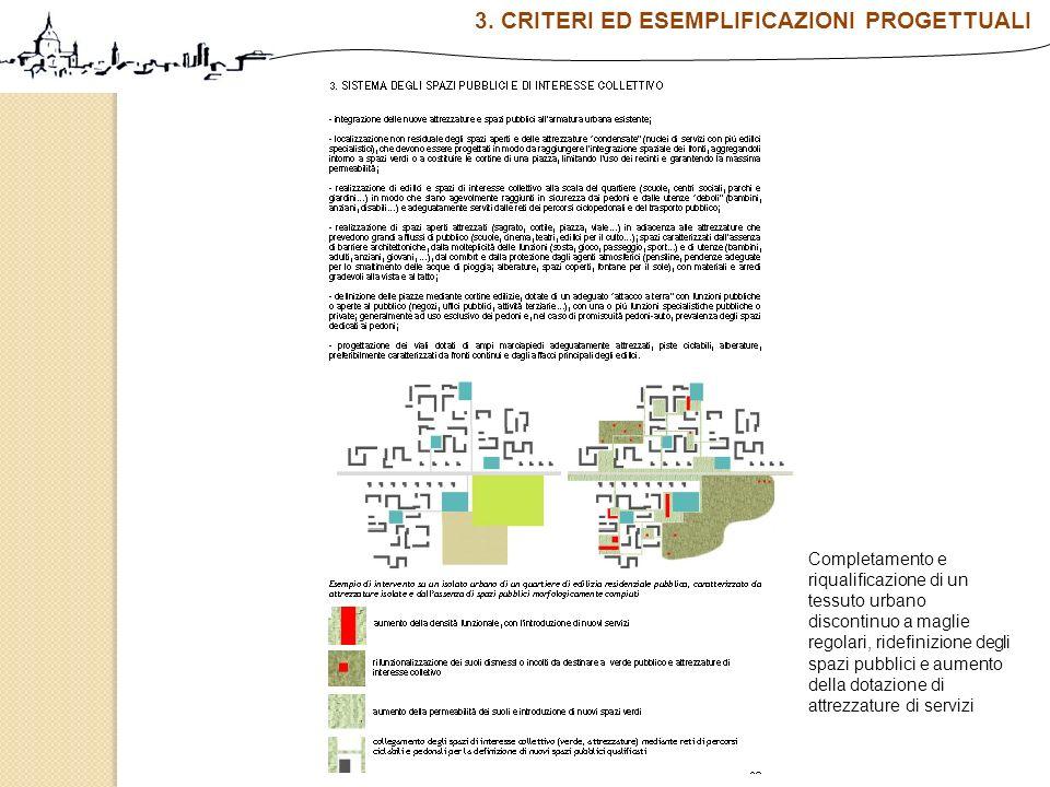 Completamento e riqualificazione di un tessuto urbano discontinuo a maglie regolari, ridefinizione degli spazi pubblici e aumento della dotazione di a