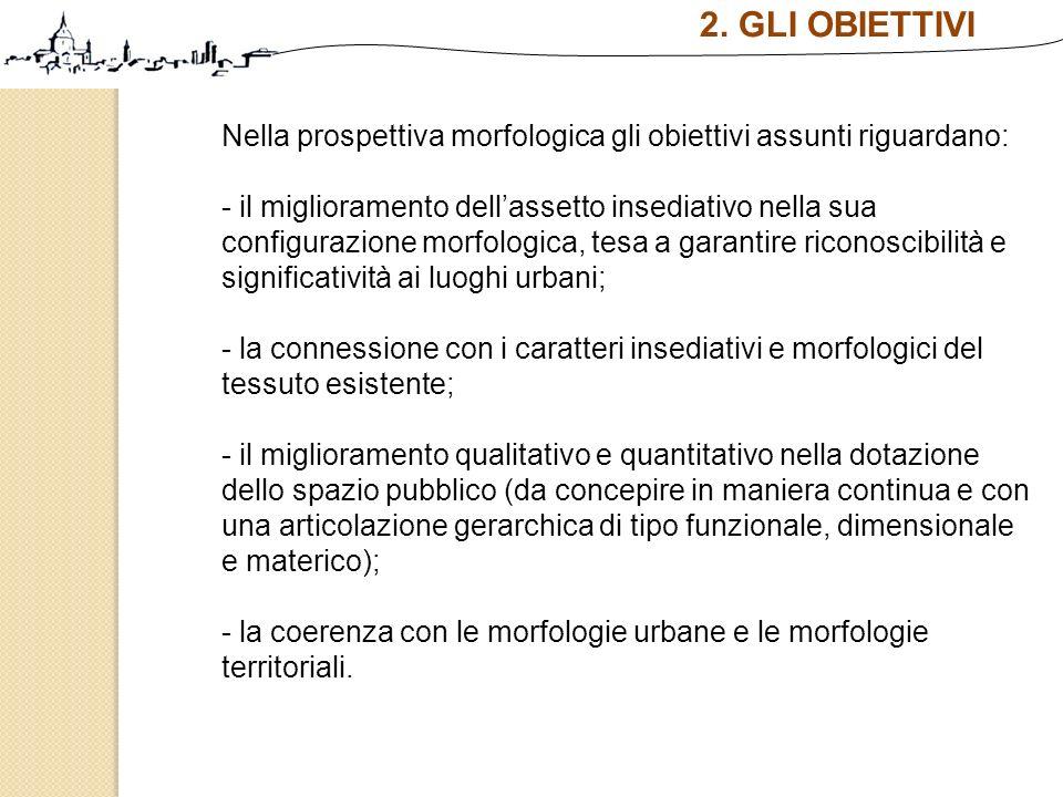 2. GLI OBIETTIVI Nella prospettiva morfologica gli obiettivi assunti riguardano: - il miglioramento dellassetto insediativo nella sua configurazione m