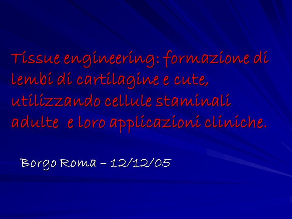 Tissue engineering: formazione di lembi di cartilagine e cute, utilizzando cellule staminali adulte e loro applicazioni cliniche. Borgo Roma – 12/12/0