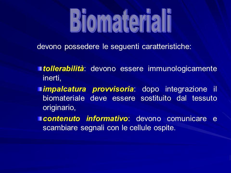 devono possedere le seguenti caratteristiche: tollerabilità: devono essere immunologicamente inerti, impalcatura provvisoria: dopo integrazione il bio