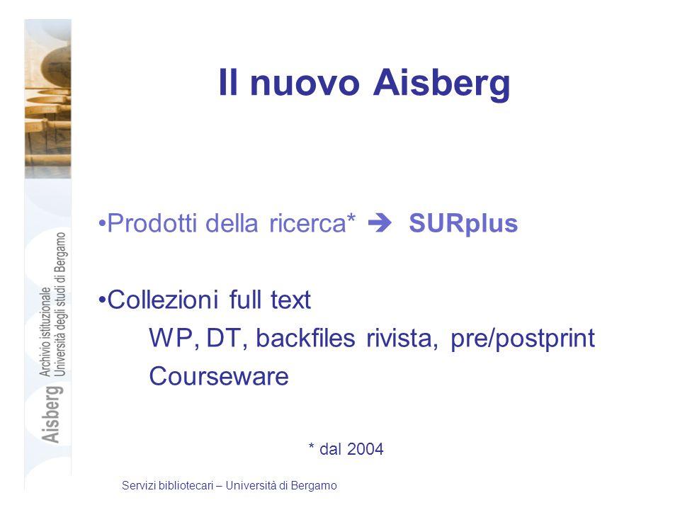Il nuovo Aisberg Prodotti della ricerca* SURplus Collezioni full text WP, DT, backfiles rivista, pre/postprint Courseware * dal 2004 Servizi bibliotec