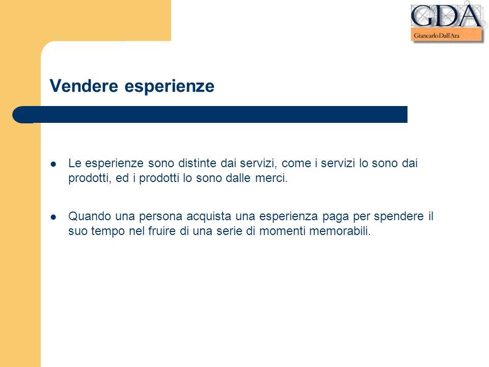 Vendere esperienze Le esperienze sono distinte dai servizi, come i servizi lo sono dai prodotti, ed i prodotti lo sono dalle merci. Quando una persona