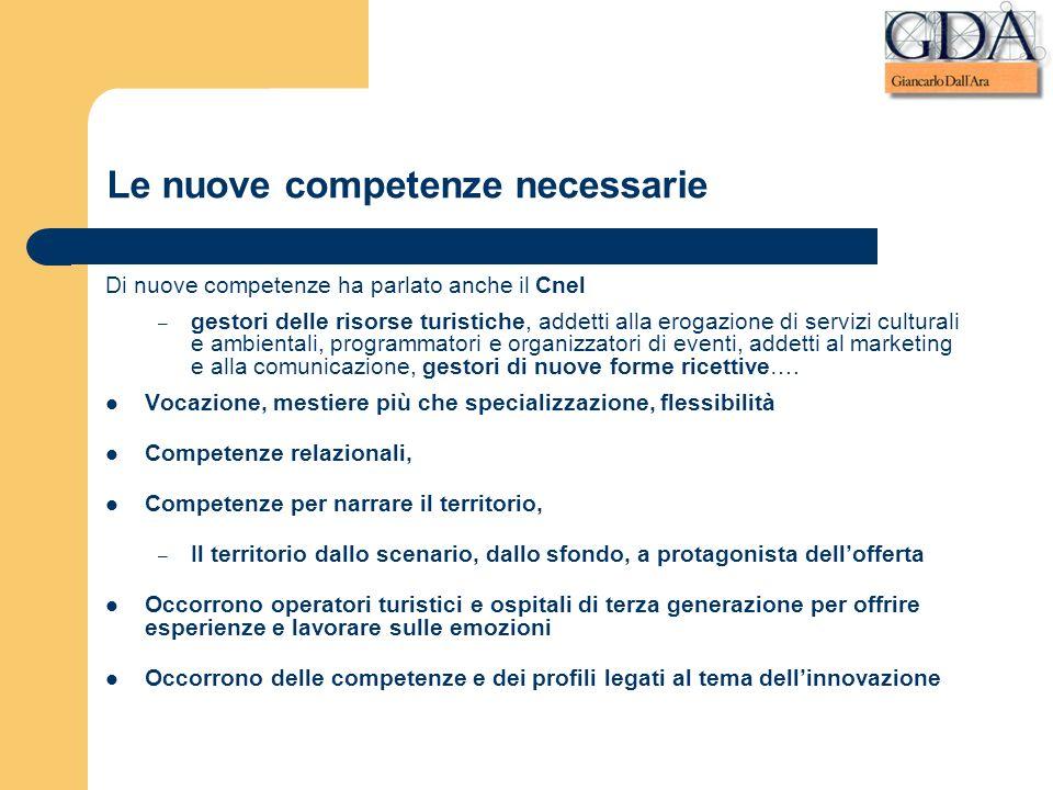 Le nuove competenze necessarie Di nuove competenze ha parlato anche il Cnel – gestori delle risorse turistiche, addetti alla erogazione di servizi cul