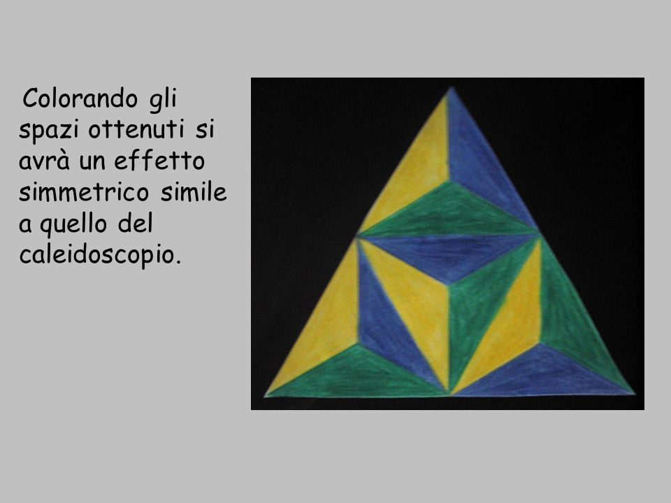 Colorando gli spazi ottenuti si avrà un effetto simmetrico simile a quello del caleidoscopio.