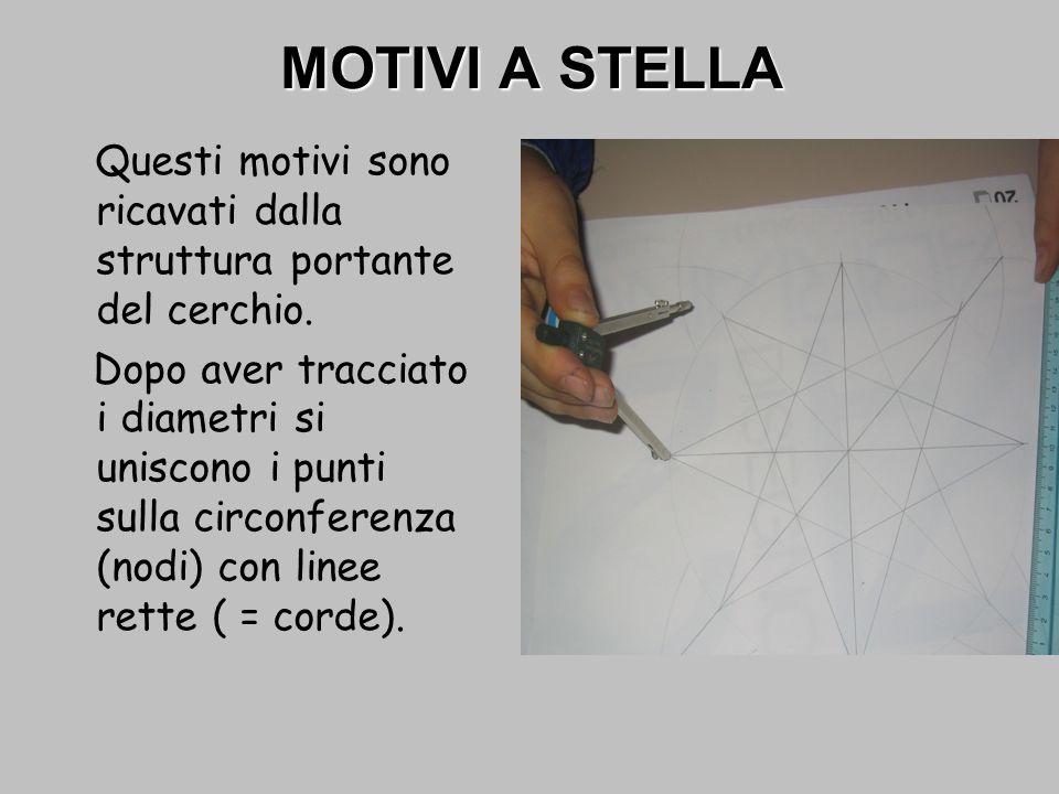 MOTIVI A STELLA Questi motivi sono ricavati dalla struttura portante del cerchio. Dopo aver tracciato i diametri si uniscono i punti sulla circonferen