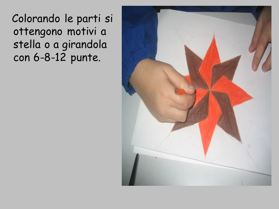 Colorando le parti si ottengono motivi a stella o a girandola con 6-8-12 punte.
