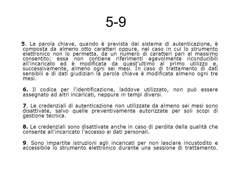 5-9 5. La parola chiave, quando è prevista dal sistema di autenticazione, è composta da almeno otto caratteri oppure, nel caso in cui lo strumento ele
