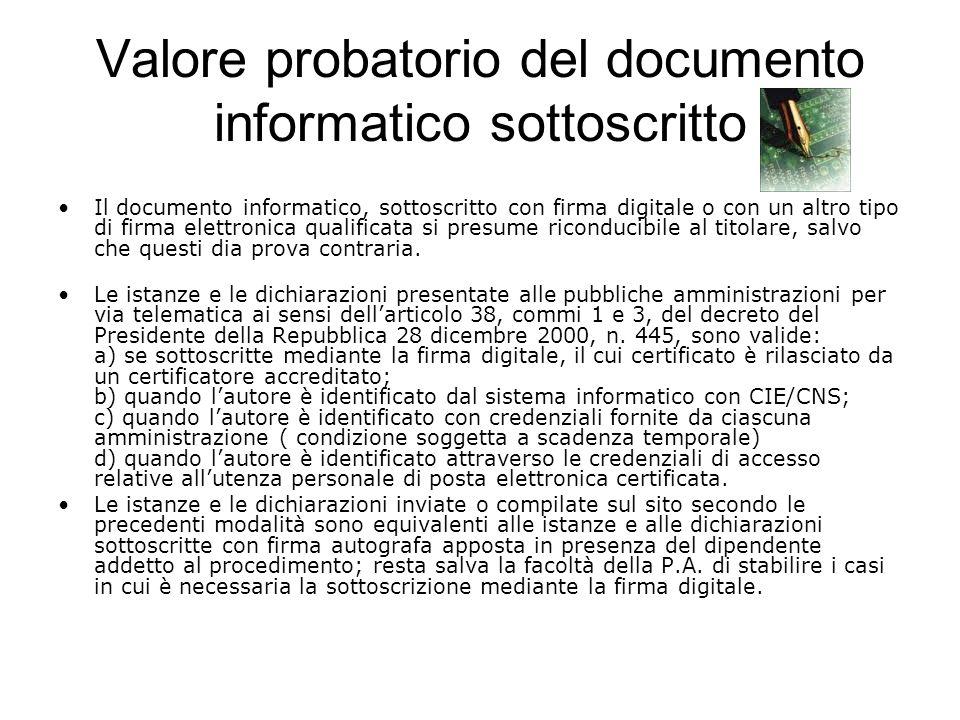 Valore probatorio del documento informatico sottoscritto Il documento informatico, sottoscritto con firma digitale o con un altro tipo di firma elettr