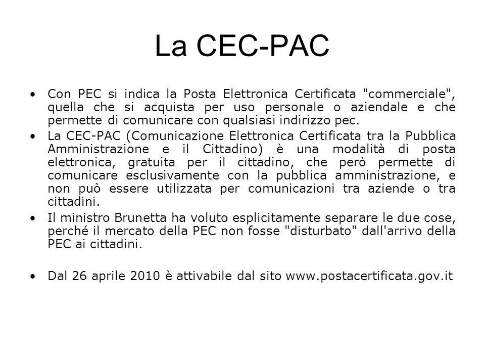 La CEC-PAC Con PEC si indica la Posta Elettronica Certificata