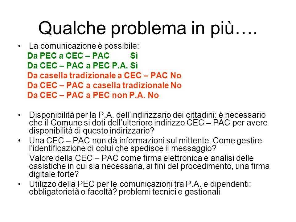 Qualche problema in più…. La comunicazione è possibile: Da PEC a CEC – PAC Sì Da CEC – PAC a PEC P.A. Sì Da casella tradizionale a CEC – PAC No Da CEC