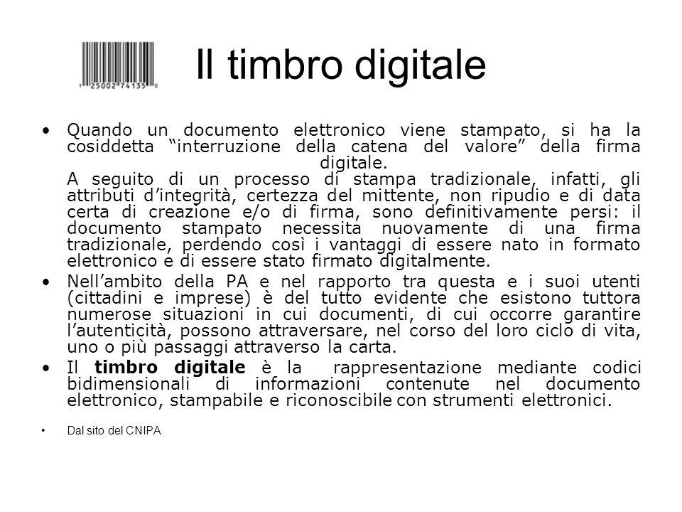 Il timbro digitale Quando un documento elettronico viene stampato, si ha la cosiddetta interruzione della catena del valore della firma digitale. A se
