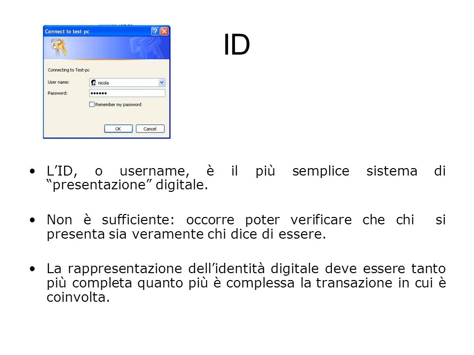 ID LID, o username, è il più semplice sistema di presentazione digitale. Non è sufficiente: occorre poter verificare che chi si presenta sia veramente