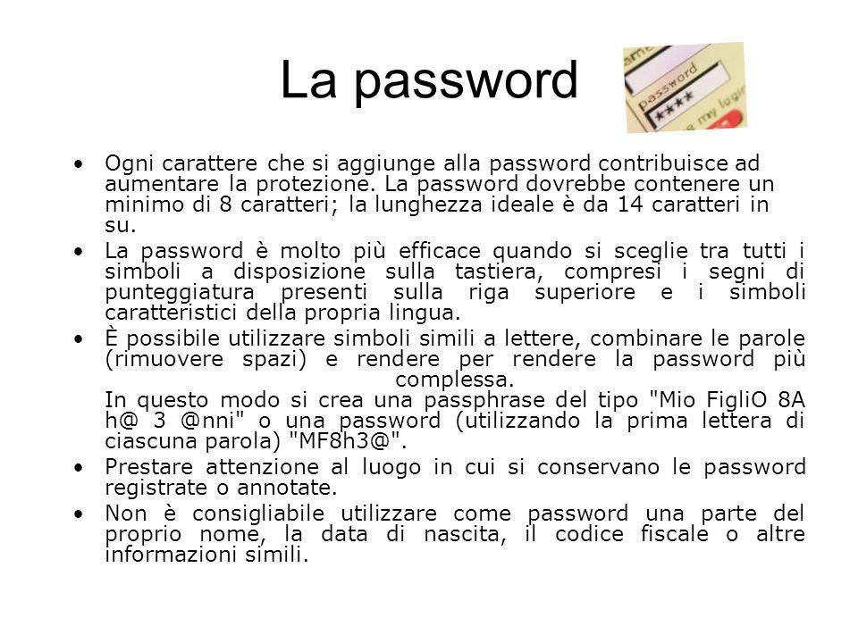 La password Ogni carattere che si aggiunge alla password contribuisce ad aumentare la protezione. La password dovrebbe contenere un minimo di 8 caratt