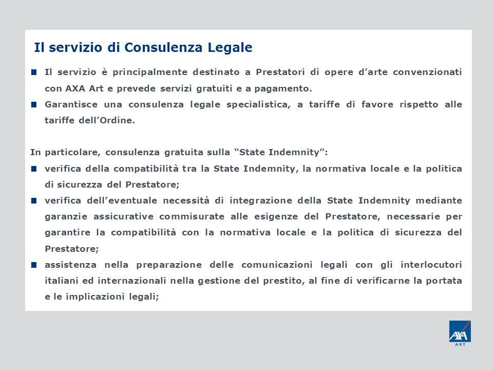 Il servizio di Consulenza Legale Il servizio è principalmente destinato a Prestatori di opere darte convenzionati con AXA Art e prevede servizi gratui