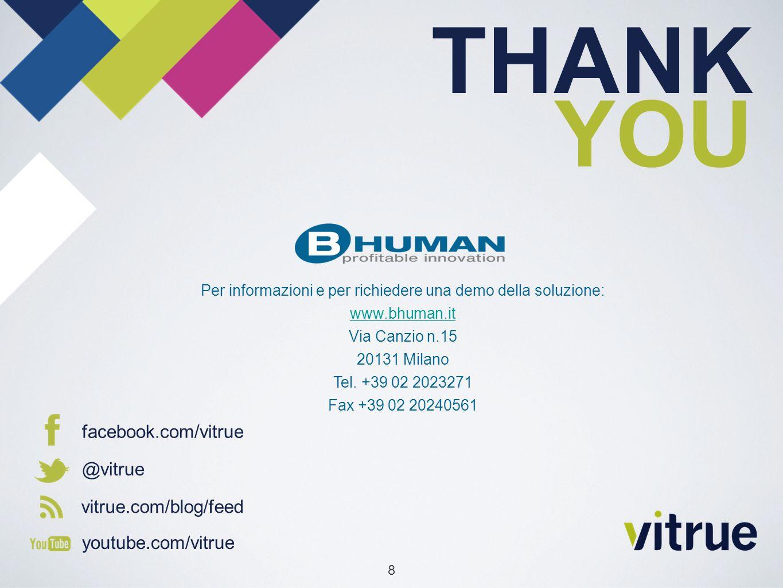 facebook.com/vitrue @vitrue vitrue.com/blog/feed youtube.com/vitrue THANK YOU 8 Per informazioni e per richiedere una demo della soluzione: www.bhuman.it Via Canzio n.15 20131 Milano Tel.