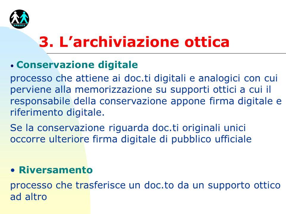 3. Larchiviazione ottica Conservazione digitale processo che attiene ai doc.ti digitali e analogici con cui perviene alla memorizzazione su supporti o