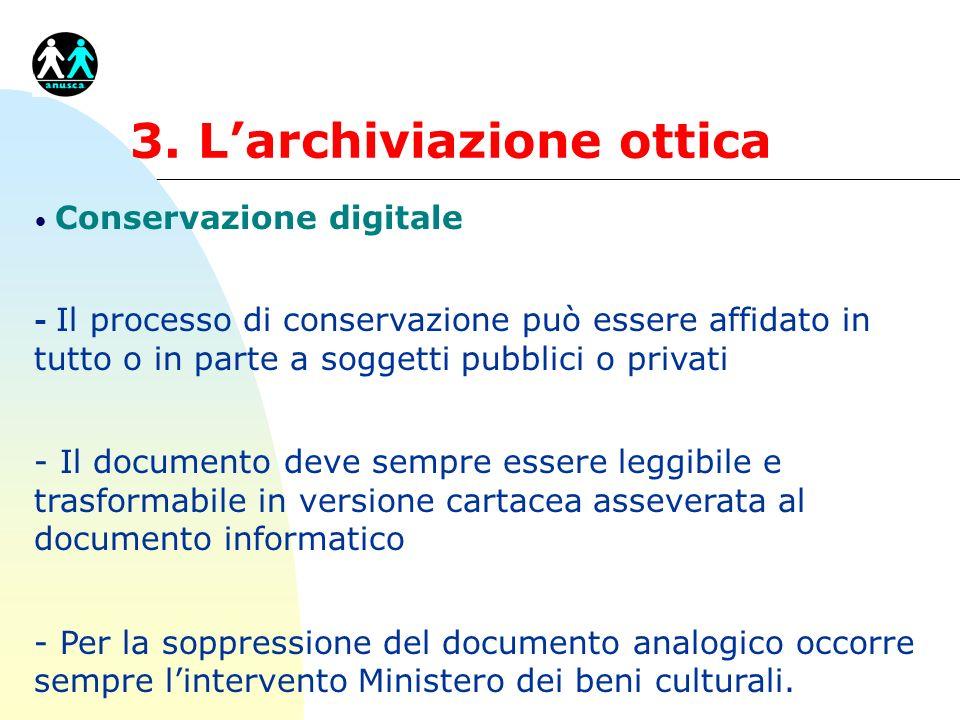 3. Larchiviazione ottica Conservazione digitale - Il processo di conservazione può essere affidato in tutto o in parte a soggetti pubblici o privati -