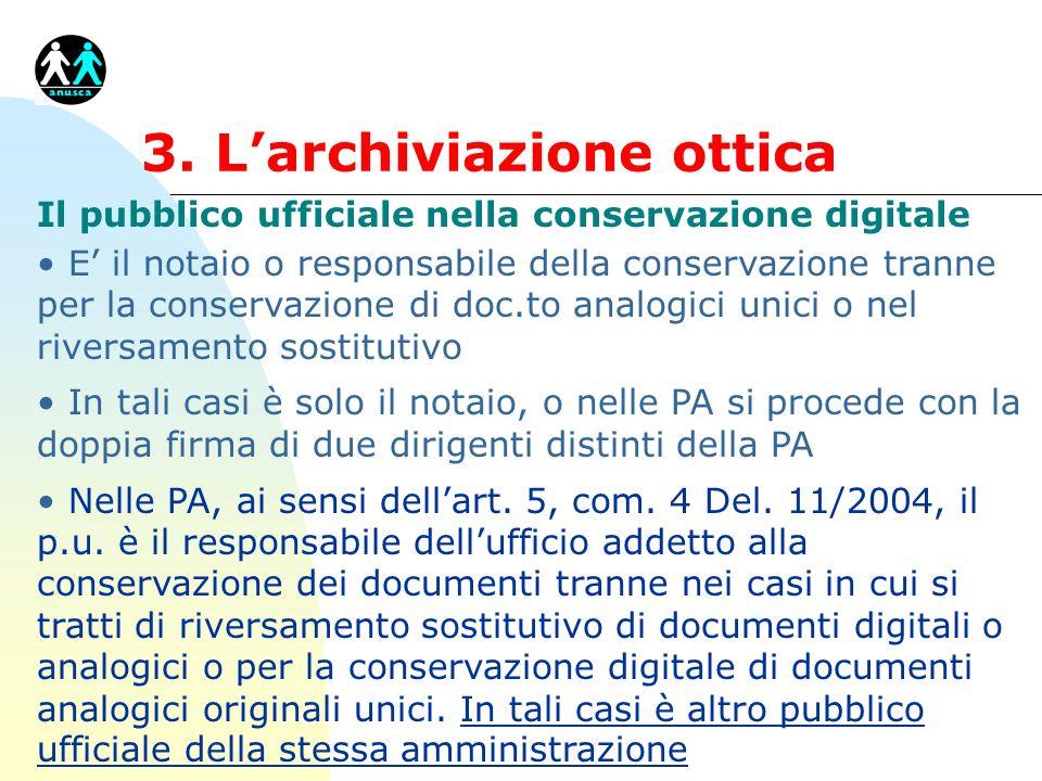 3. Larchiviazione ottica Il pubblico ufficiale nella conservazione digitale E il notaio o responsabile della conservazione tranne per la conservazione