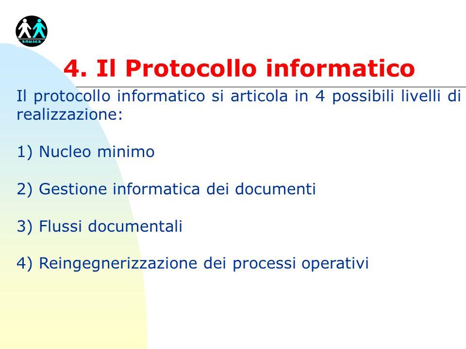 4. Il Protocollo informatico Il protocollo informatico si articola in 4 possibili livelli di realizzazione: 1) Nucleo minimo 2) Gestione informatica d
