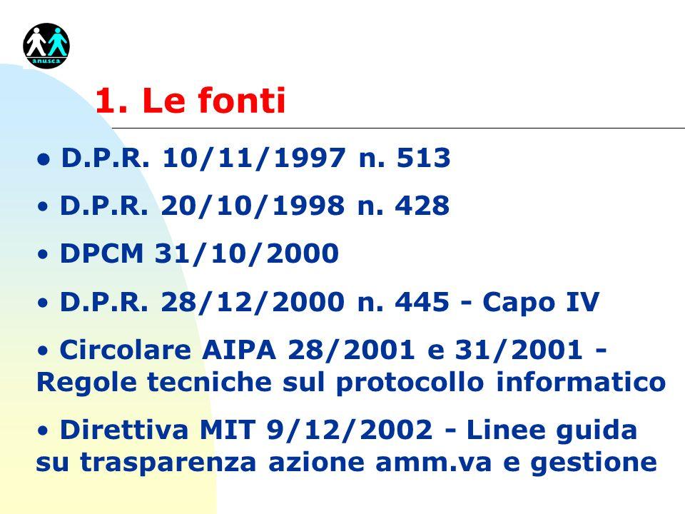 1. Le fonti l D.P.R. 10/11/1997 n. 513 D.P.R. 20/10/1998 n. 428 DPCM 31/10/2000 D.P.R. 28/12/2000 n. 445 - Capo IV Circolare AIPA 28/2001 e 31/2001 -