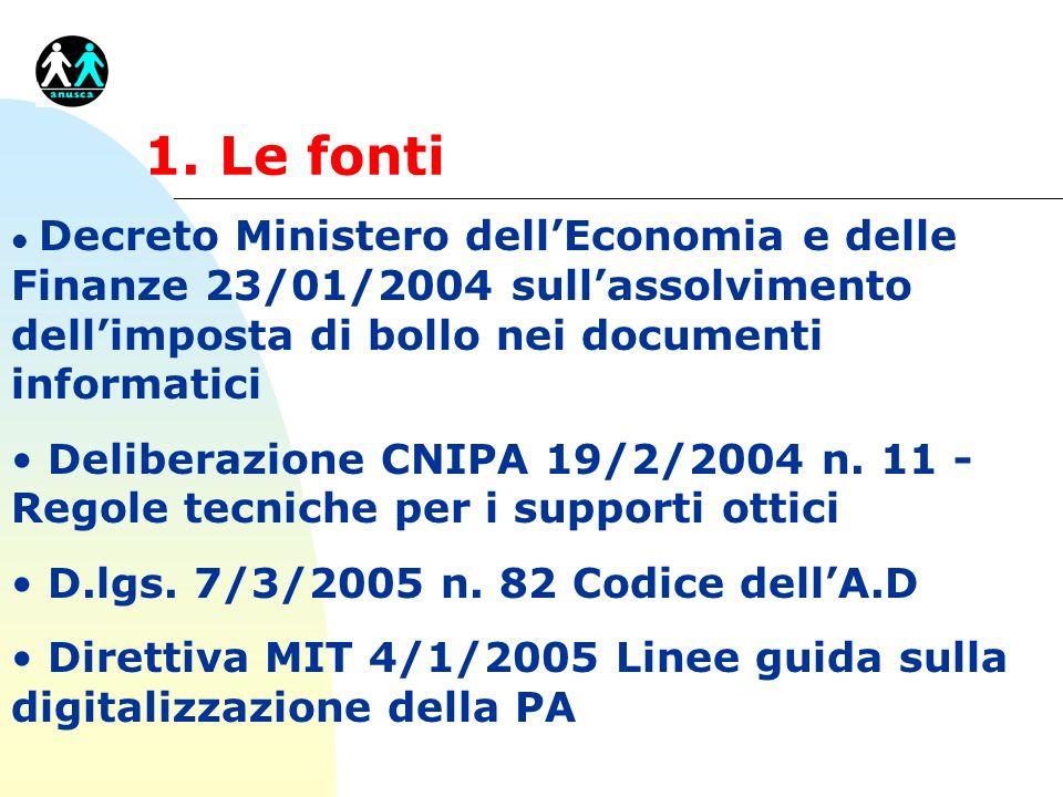 1. Le fonti l Decreto Ministero dellEconomia e delle Finanze 23/01/2004 sullassolvimento dellimposta di bollo nei documenti informatici Deliberazione