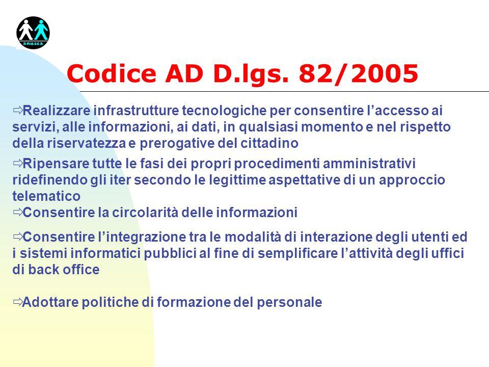 Codice AD D.lgs. 82/2005 ð Realizzare infrastrutture tecnologiche per consentire laccesso ai servizi, alle informazioni, ai dati, in qualsiasi momento