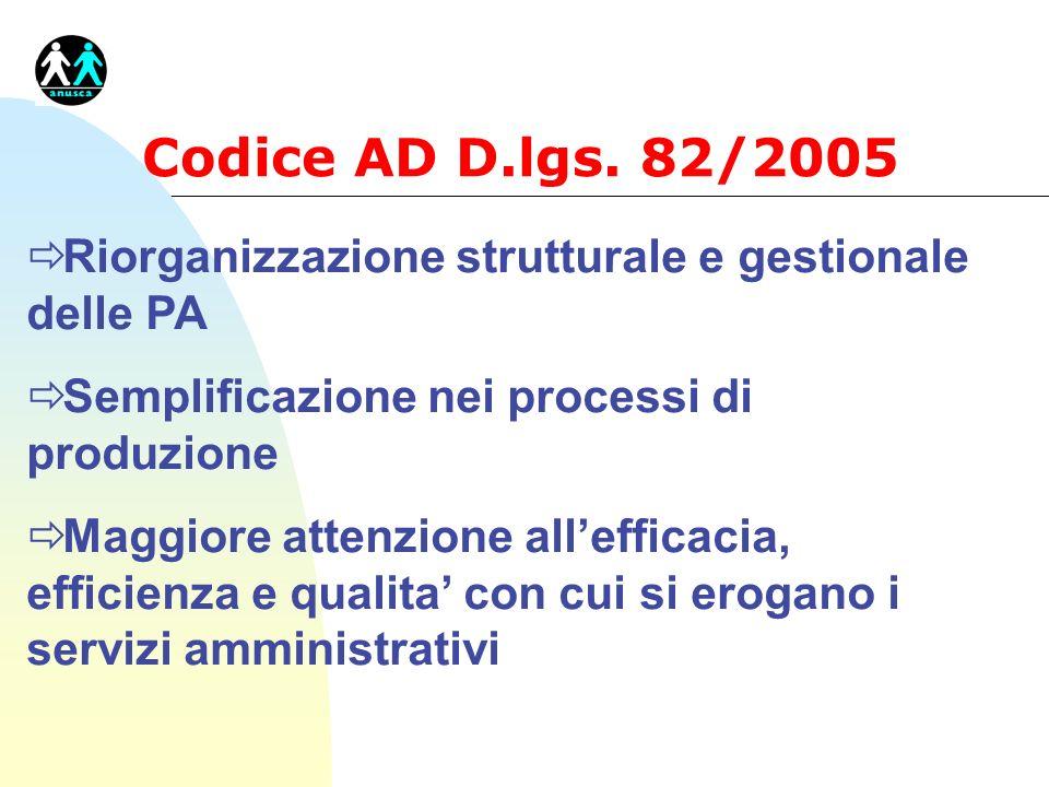 Codice AD D.lgs. 82/2005 ð Riorganizzazione strutturale e gestionale delle PA ð Semplificazione nei processi di produzione ð Maggiore attenzione allef