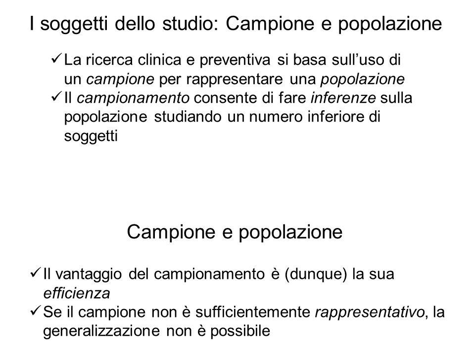 I soggetti dello studio: Campione e popolazione Campione e popolazione Il vantaggio del campionamento è (dunque) la sua efficienza Se il campione non