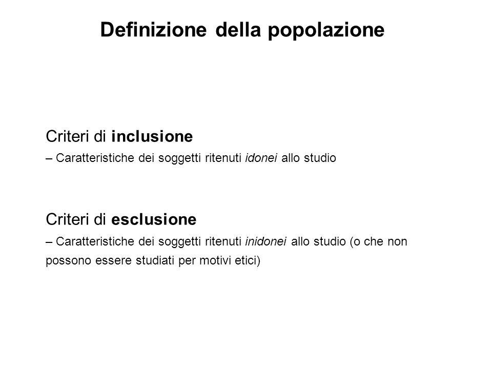Criteri di inclusione – Caratteristiche dei soggetti ritenuti idonei allo studio Criteri di esclusione – Caratteristiche dei soggetti ritenuti inidone
