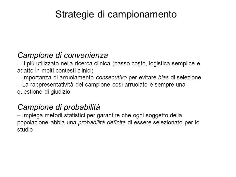 Campione di convenienza – Il più utilizzato nella ricerca clinica (basso costo, logistica semplice e adatto in molti contesti clinici) – Importanza di