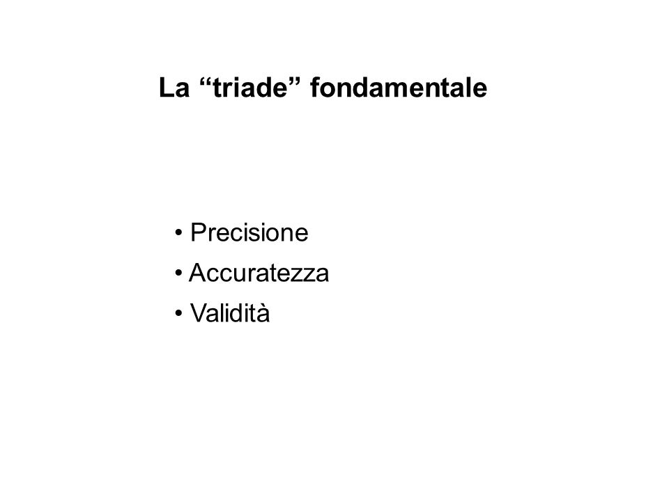 Precisione Accuratezza Validità La triade fondamentale