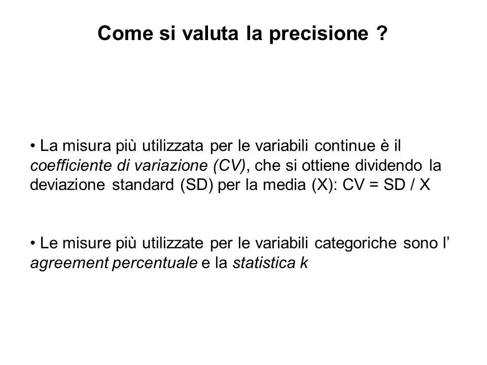 La misura più utilizzata per le variabili continue è il coefficiente di variazione (CV), che si ottiene dividendo la deviazione standard (SD) per la m