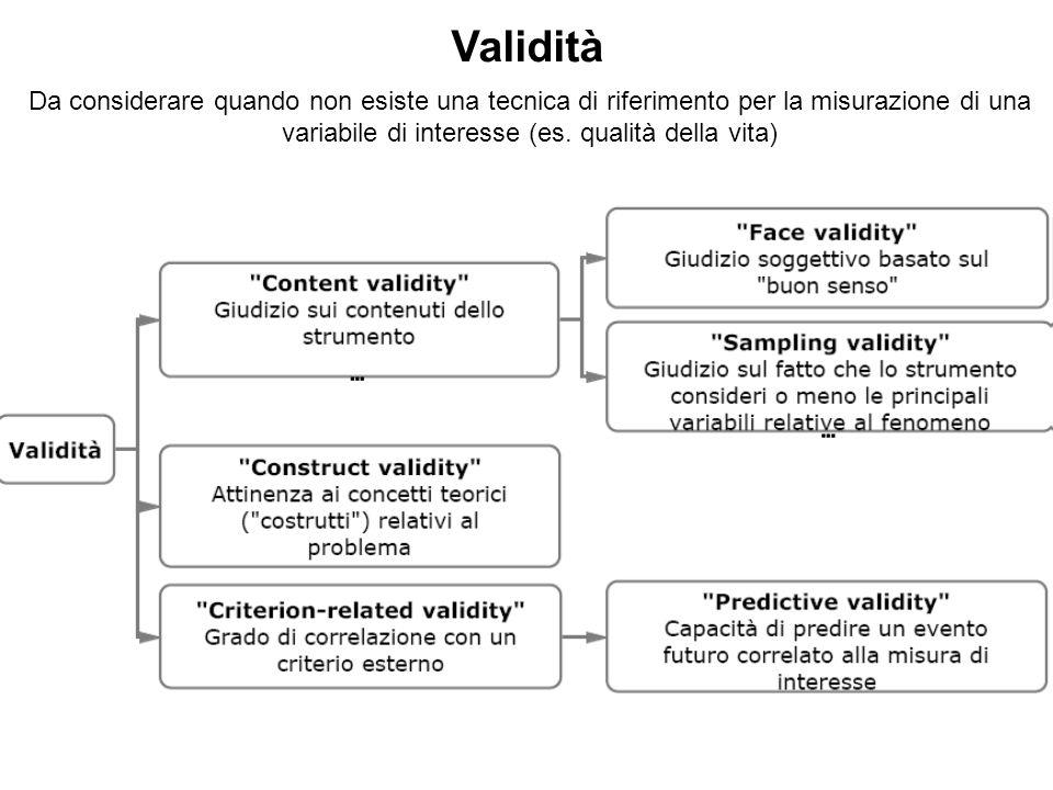 Da considerare quando non esiste una tecnica di riferimento per la misurazione di una variabile di interesse (es. qualità della vita) Validità