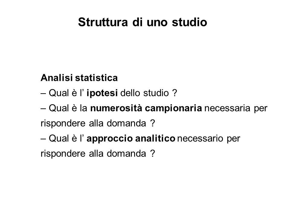 Analisi statistica – Qual è l ipotesi dello studio ? – Qual è la numerosità campionaria necessaria per rispondere alla domanda ? – Qual è l approccio