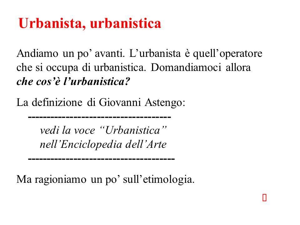 Urbanista, urbanistica Andiamo un po avanti. Lurbanista è quelloperatore che si occupa di urbanistica. Domandiamoci allora che cosè lurbanistica? La d