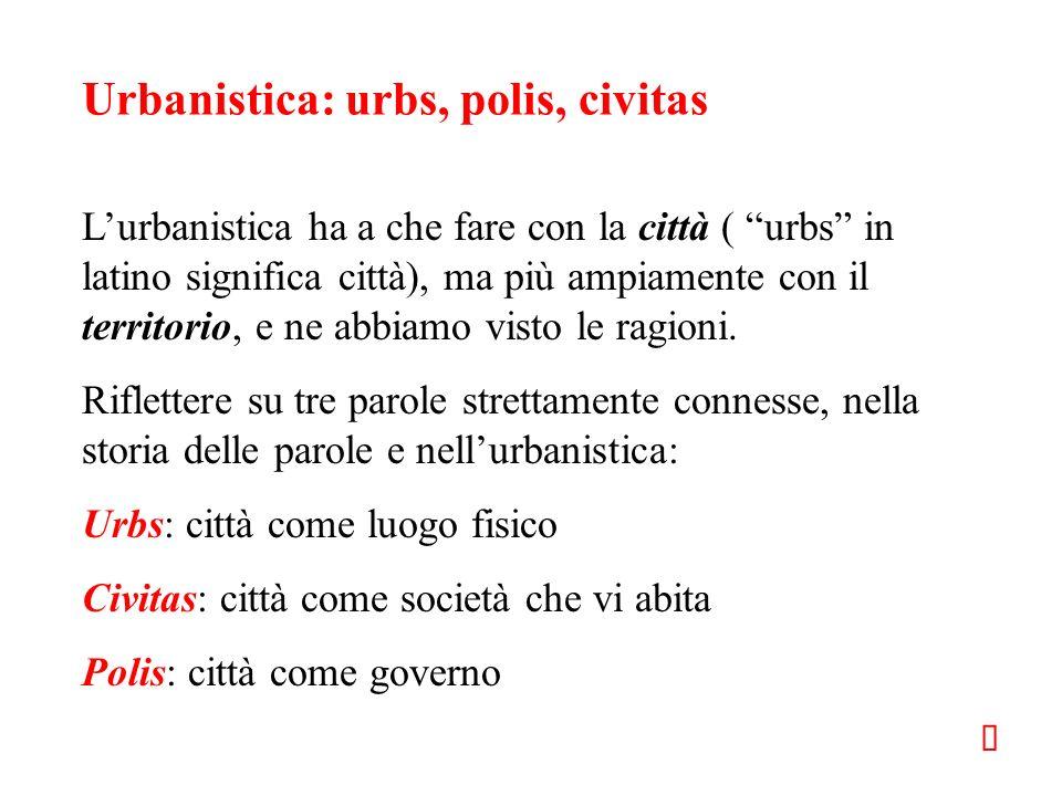 Urbanistica: urbs, polis, civitas Lurbanistica ha a che fare con la città ( urbs in latino significa città), ma più ampiamente con il territorio, e ne