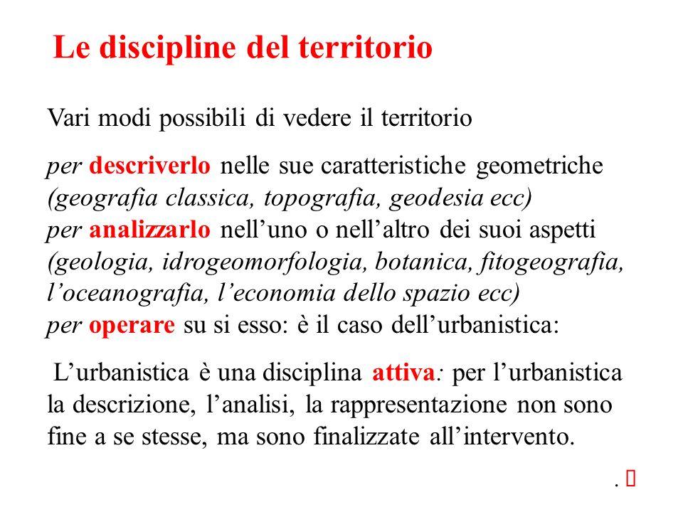 Le discipline del territorio Vari modi possibili di vedere il territorio per descriverlo nelle sue caratteristiche geometriche (geografia classica, to