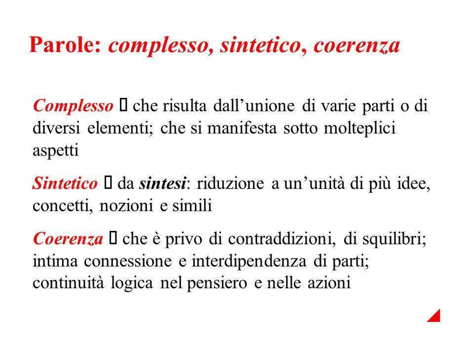 Parole: complesso, sintetico, coerenza Complesso che risulta dallunione di varie parti o di diversi elementi; che si manifesta sotto molteplici aspett