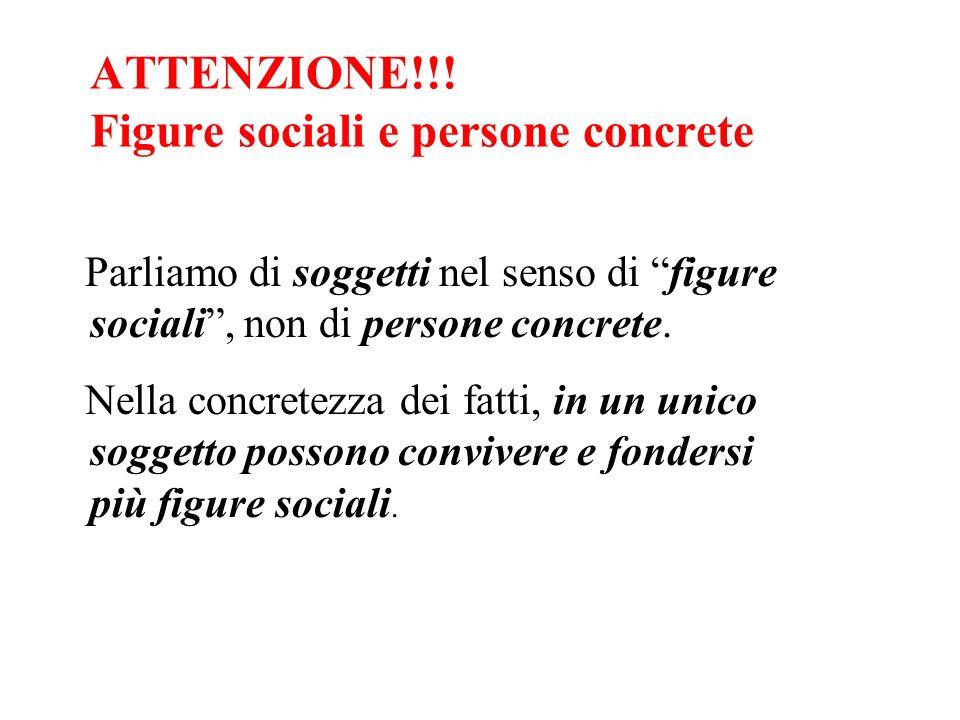 ATTENZIONE!!! Figure sociali e persone concrete Parliamo di soggetti nel senso di figure sociali, non di persone concrete. Nella concretezza dei fatti