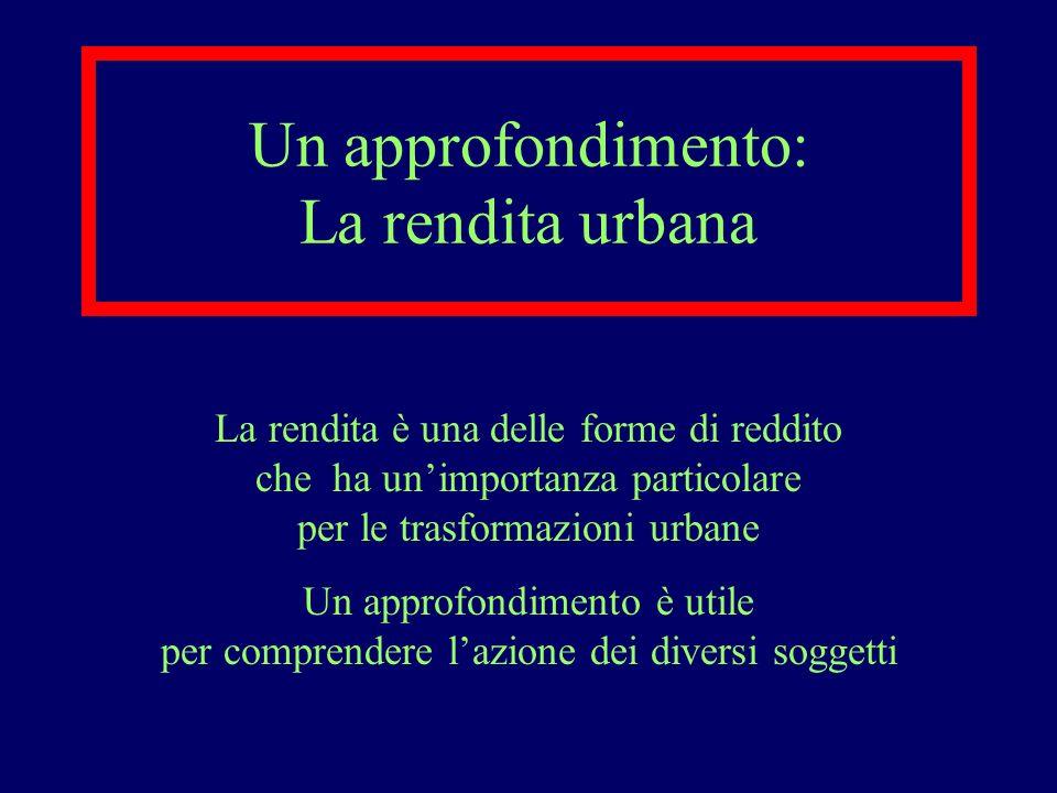 Un approfondimento: La rendita urbana La rendita è una delle forme di reddito che ha unimportanza particolare per le trasformazioni urbane Un approfon