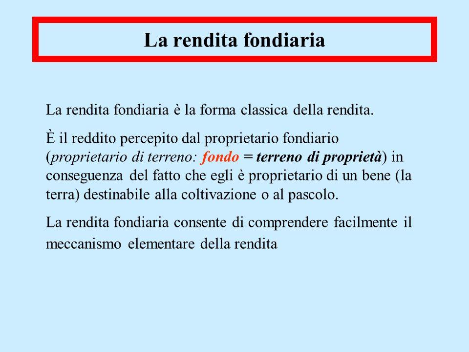La rendita fondiaria La rendita fondiaria è la forma classica della rendita. È il reddito percepito dal proprietario fondiario (proprietario di terren