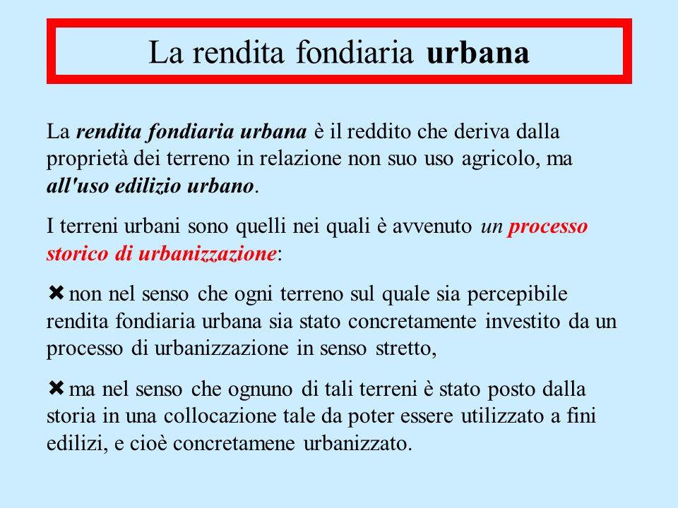 La rendita fondiaria urbana La rendita fondiaria urbana è il reddito che deriva dalla proprietà dei terreno in relazione non suo uso agricolo, ma all'