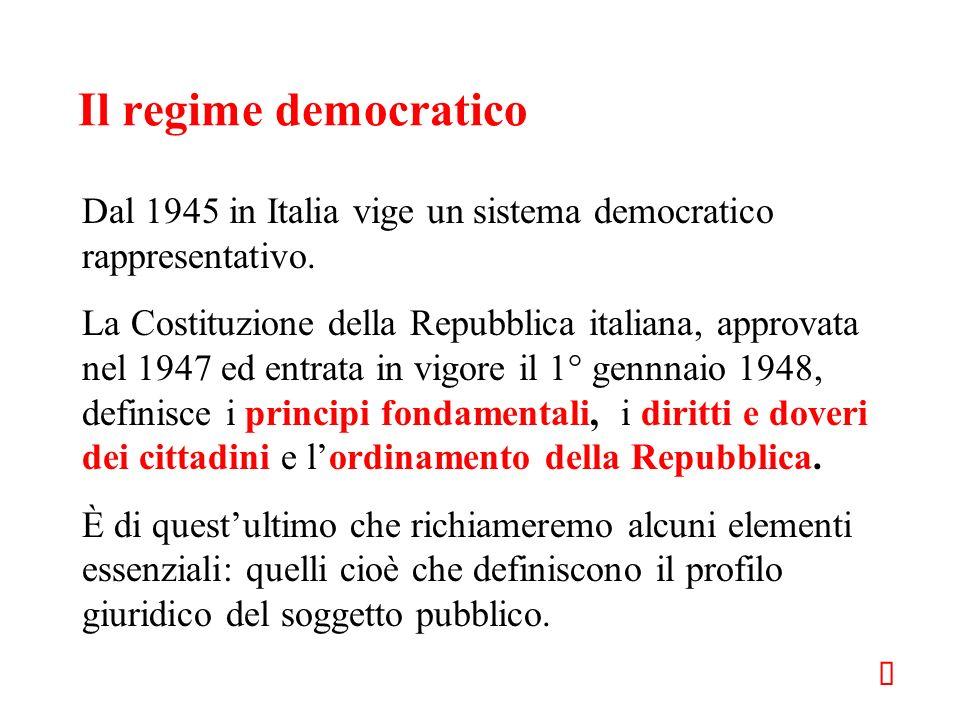 Il regime democratico Dal 1945 in Italia vige un sistema democratico rappresentativo. La Costituzione della Repubblica italiana, approvata nel 1947 ed